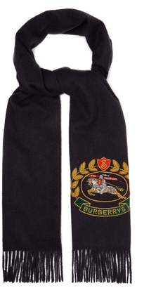 Burberry Crest Embroidered Cashmere Scarf - Mens - Navy