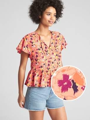 Gap Short Sleeve Flounce Floral Print Top