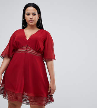 Asos DESIGN Curve mini tea dress with lace inserts and button front detail