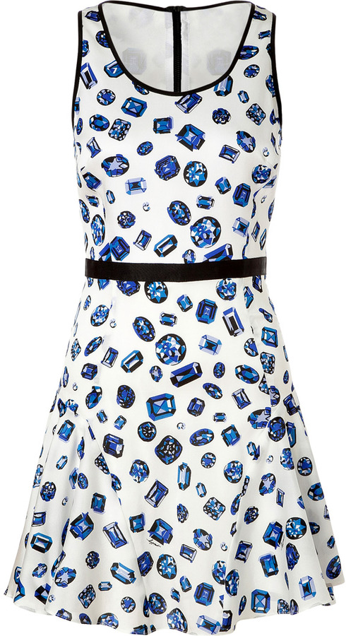 Milly Lapis Blue/White Silk Swing Dress