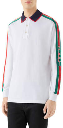9cfe5b121 Gucci Men's Web-Striped Long-Sleeve Polo Shirt
