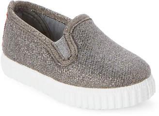 Cienta Toddler/Kids Girls) Grey Shimmer Slip-On Sneakers