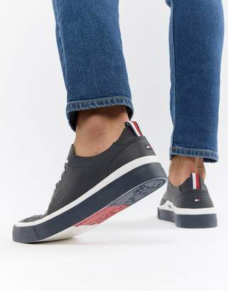Tommy Hilfiger Unlined Low Cut Lightweight Leather Sneakers In Navy