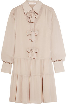 See by Chloé - Bow-embellished Georgette Mini Dress - Beige $470 thestylecure.com