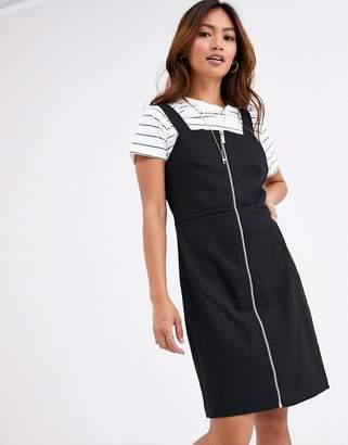 Pimkie zip front mini dress in black