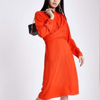 River Island Womens Red wrap waist midi dress