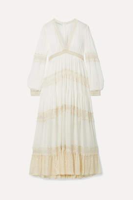 Philosophy di Lorenzo Serafini Macramé-trimmed Striped Chiffon Midi Dress - Cream