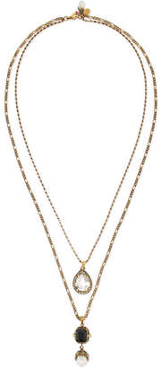 Alexander McQueen Gold-tone, Crystal And Pearl Necklace - one size