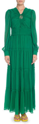 Proenza Schouler Keyhole-Front Long-Sleeve Silk Chiffon Long Peasant Dress