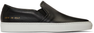 Common Projects Woman By Woman by Black and White Leather Slip-On Sneakers