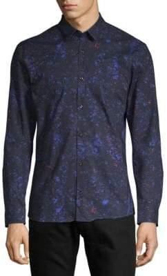 HUGO BOSS Ero Floral-Print Cotton Button-Down Shirt
