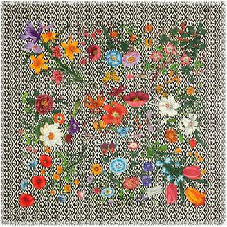 Gucci Wool shawl with Flora and G rhombus print