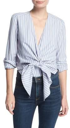 Veronica Beard Diana Striped Tie-Front Cotton Bodysuit
