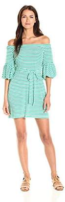 Donna Morgan Women's Off Shoulder Striped Dress