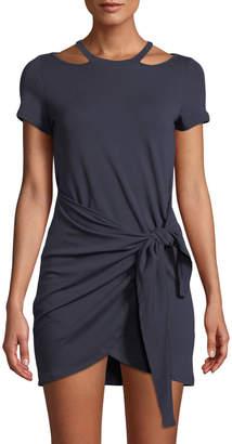 Junie Short-Sleeve Halter Wrap-Front Mini Dress