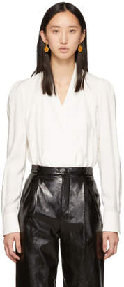 Givenchy White Deep V Blouse