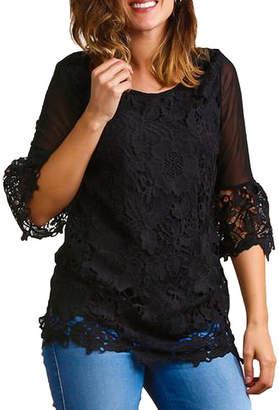 Asstd National Brand Plus Crochet Bell Sleeve Tunic