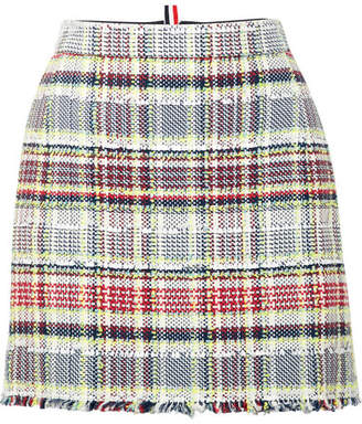 Thom Browne Frayed Cotton-blend Tweed Mini Skirt - Red