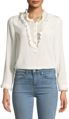 Rebecca Taylor Ruffled Long-Sleeve Button-Front Silk Top