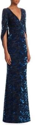 Talbot Runhof Velvet Tapestry Drape-Back Gown