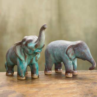 Novica Duangkamol 2 Piece Artisan Crafted Ceramic Elephants Figurine Set