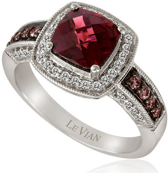 Le Vian 14ct Vanilla Gold diamond & rhodolite ring