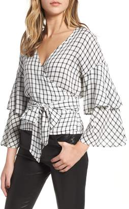 Cupcakes And Cashmere Jonnie Plaid Wrap Top