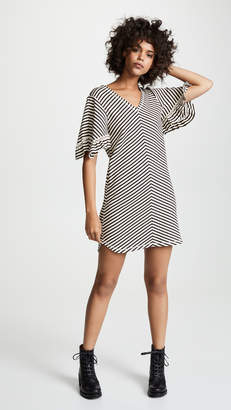 See by Chloe Stripe Ruffle Sleeve Dress
