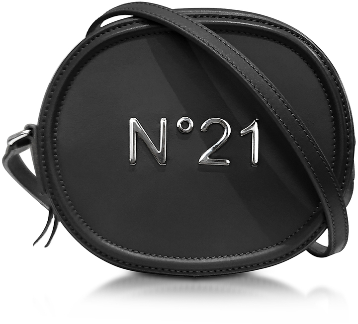 N°21 Black Leather Oval Crossbody Bag w/Metallic Embossed Logo
