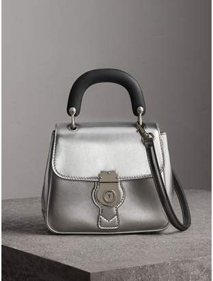 Burberry The Small DK88 Top Handle Bag in Metallic Leather, Grey