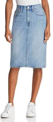 Levi's Slit Denim Skirt in Blue Waves