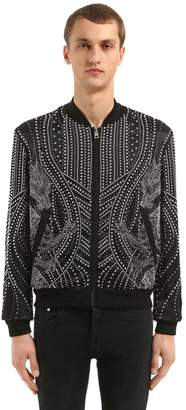 Just Cavalli Dragons Studded Viscose Bomber Jacket