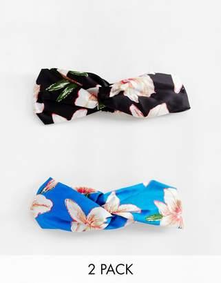 Asos Design DESIGN pack of 2 twist front headbands in mixed florals