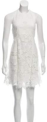 Alice + Olivia Embroidered Halter Dress