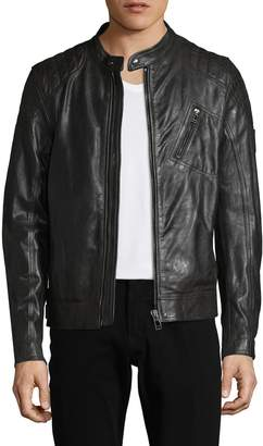 Belstaff Men's Belt Buckle Hem Leather Jacket