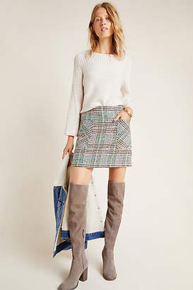 Anthropologie Bijou Plaid Knit Mini Skirt