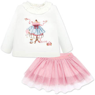 Mayoral Girl's Ruffle Trim Graphic Tee w/ Tulle Skirt, Size 6-36 Months