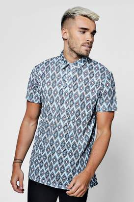 boohoo Sublimation All Over Print Short Sleeve Polo