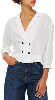Topshop TALL Taylor Double-Breasted Blouse