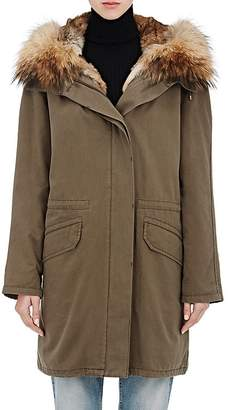 Yves Salomon Army by Women's Cotton Parka & Removable Fur Lining