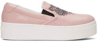 Kenzo Pink K-PY Tiger Platform Slip-On Sneakers