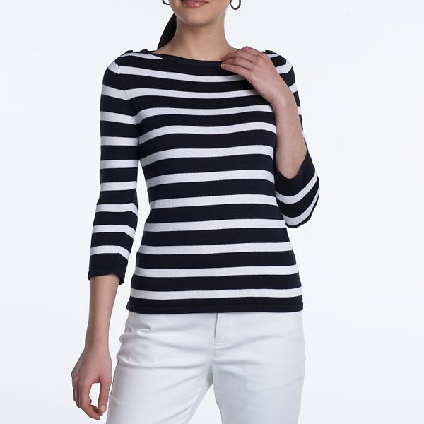 Chaps Button-Shoulder Striped Sweater