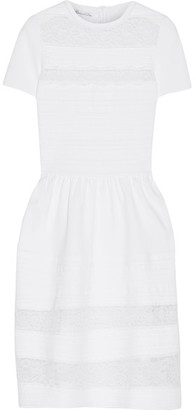 Oscar de la Renta - Lace-paneled Stretch-knit Dress - White $2,390 thestylecure.com