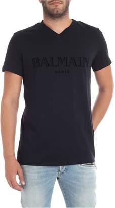 Balmain V Neck Logo Print