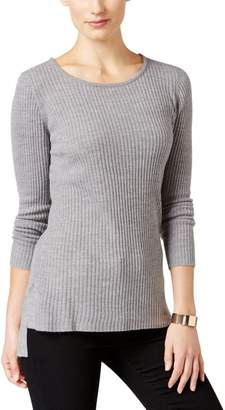 NY Collection Womens Petites Hi-Low Ribbed Knit Pullover Sweater Gray