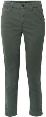 J Brand Ruby Painter Stretch Cotton-blend Twill Straight-leg Pants - Army green