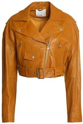 Tibi Cropped Leather Biker Jacket