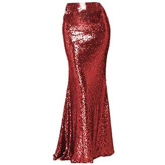 SkirtsFirst Women's Mermaid Maxi Sequin Skirt High Waist Long Wedding Fomal Party Skirt Plus