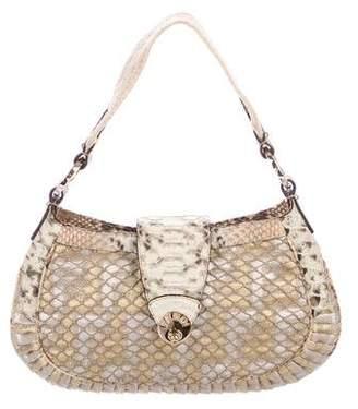 Fendi Python-Trimmed Shoulder Bag