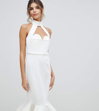 Asos DESIGN Premium cupped halter midi bodycon dress with chain back detail